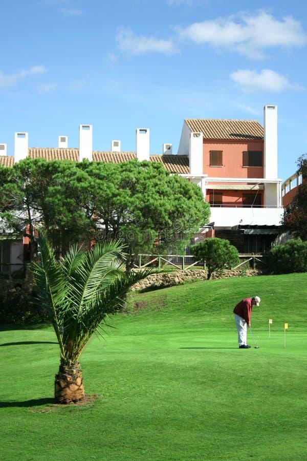 курорт человека гольфа практикуя стоковое изображение rf