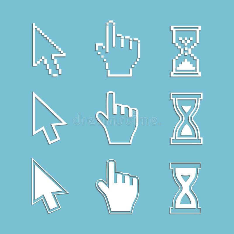 Курсоры пиксела и значки плана: часы стрелки руки мыши иллюстрация вектора