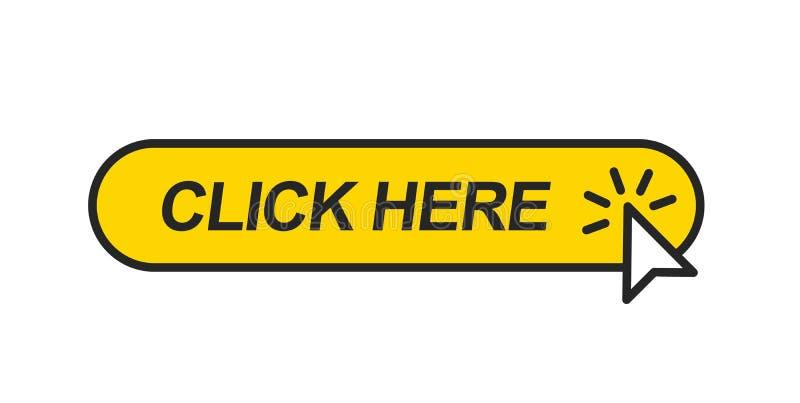 Курсор мыши нажимая на желтой кнопке иллюстрация штока
