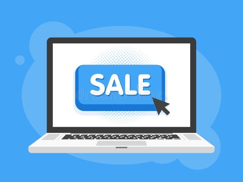 Курсор мыши щелкает кнопку продажи Экран компьютер-книжки компьтер-книжки также вектор иллюстрации притяжки corel иллюстрация вектора