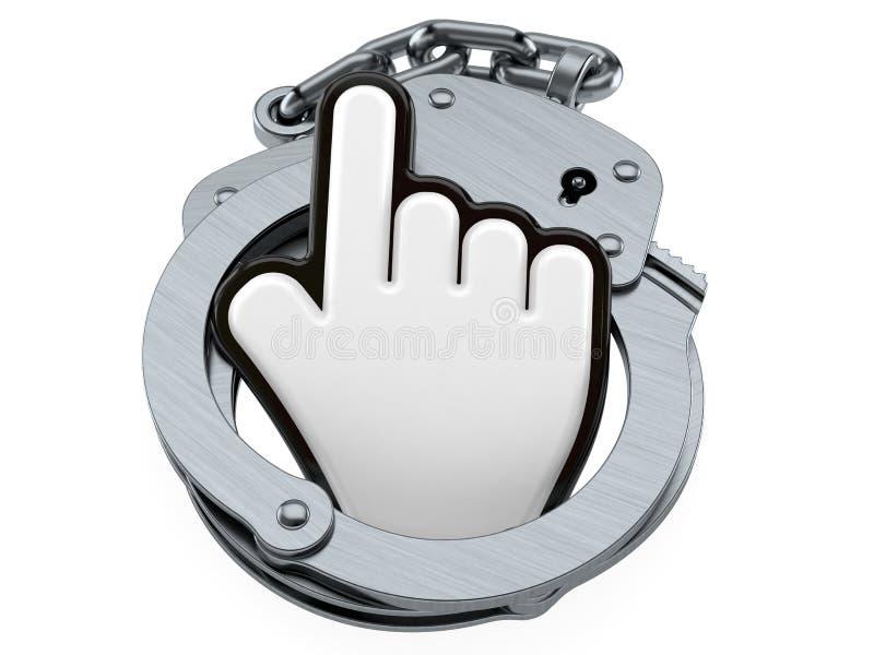Курсор с наручниками иллюстрация вектора