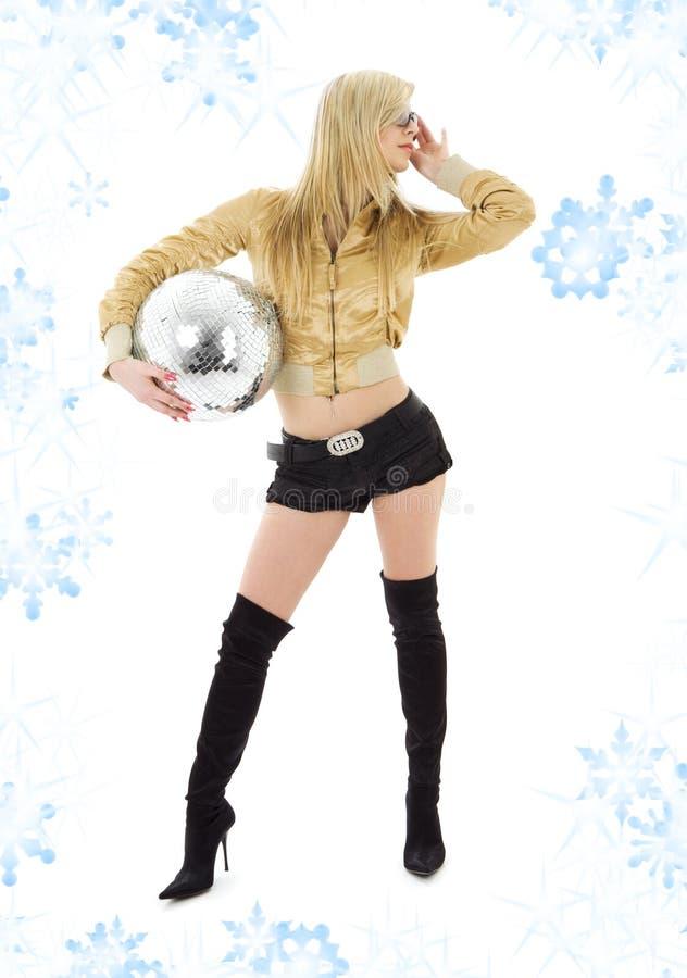 куртка девушки диско шарика золотистая стоковая фотография rf