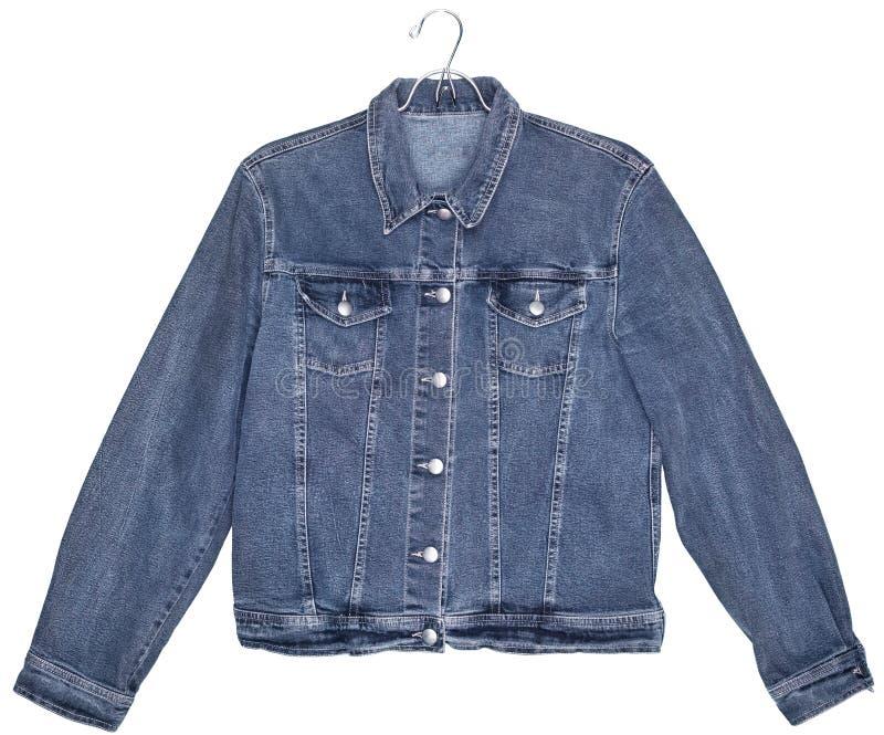 Куртка джинсов джинсовой ткани изолированная на белизне стоковые изображения