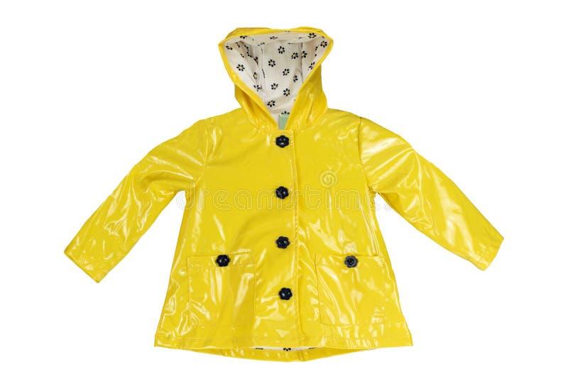 Куртка дождя Куртка дождя девушек элегантная желтая изолированная на whit стоковые фотографии rf