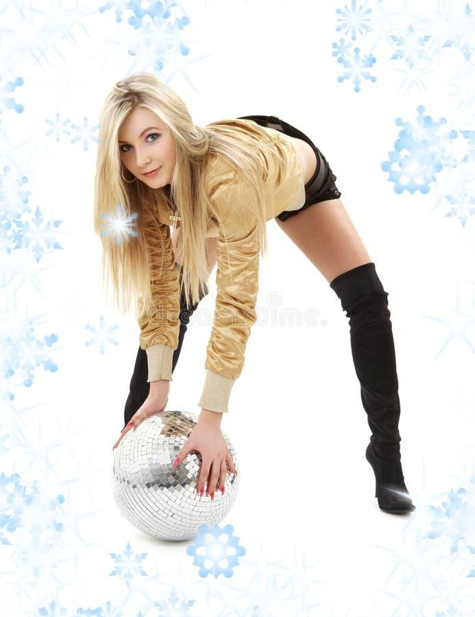 куртка девушки диско шарика золотистая стоковое фото