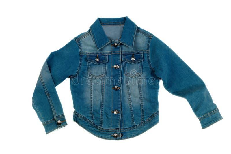 Куртка джинсовой ткани, изолят на белизне стоковые изображения rf