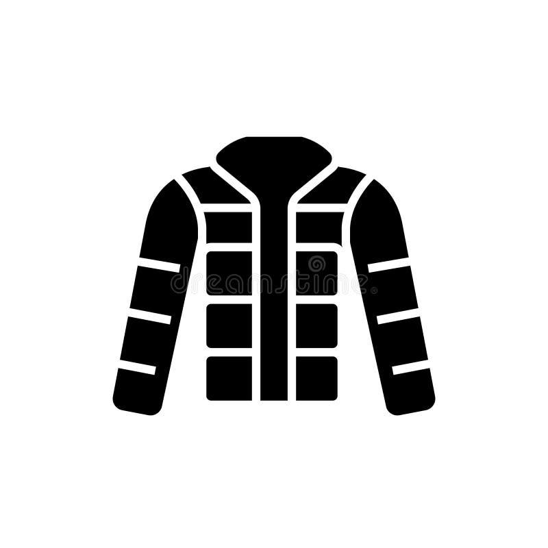 Куртка зимы - вниз куртка - внешний значок, иллюстрация вектора, черный знак на изолированной предпосылке иллюстрация штока