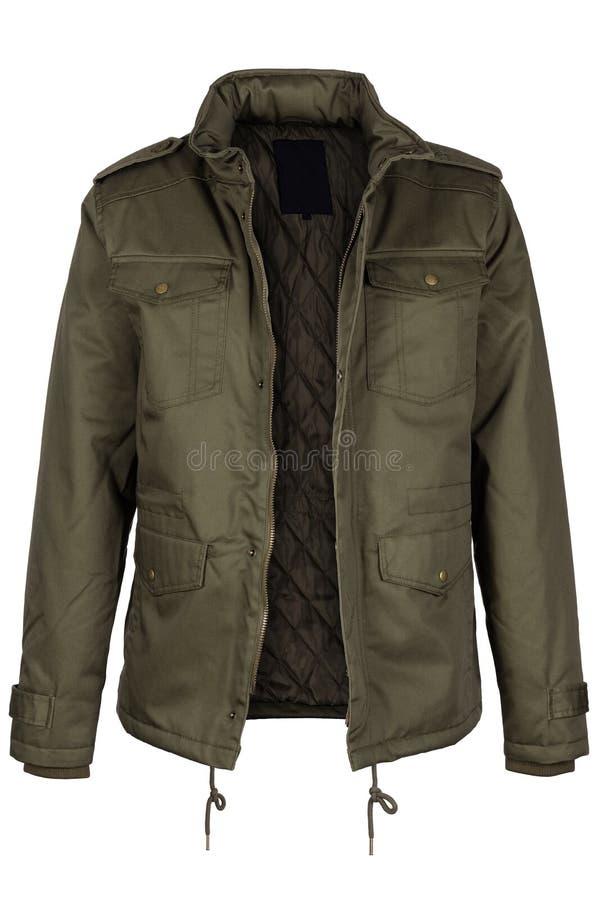 Куртка unzipped зеленым цветом теплая стоковые изображения rf