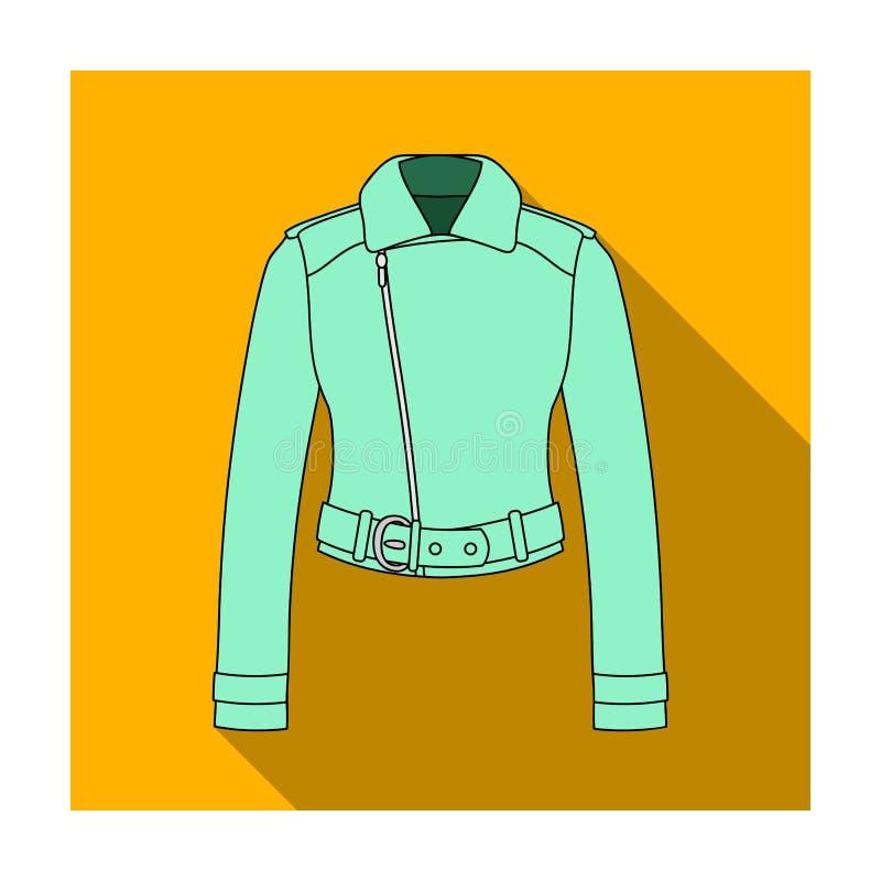 куртки молодости короткие кожаные для уверенно женщин Значок одежды женщин одиночный в плоском запасе символа вектора стиля иллюстрация вектора