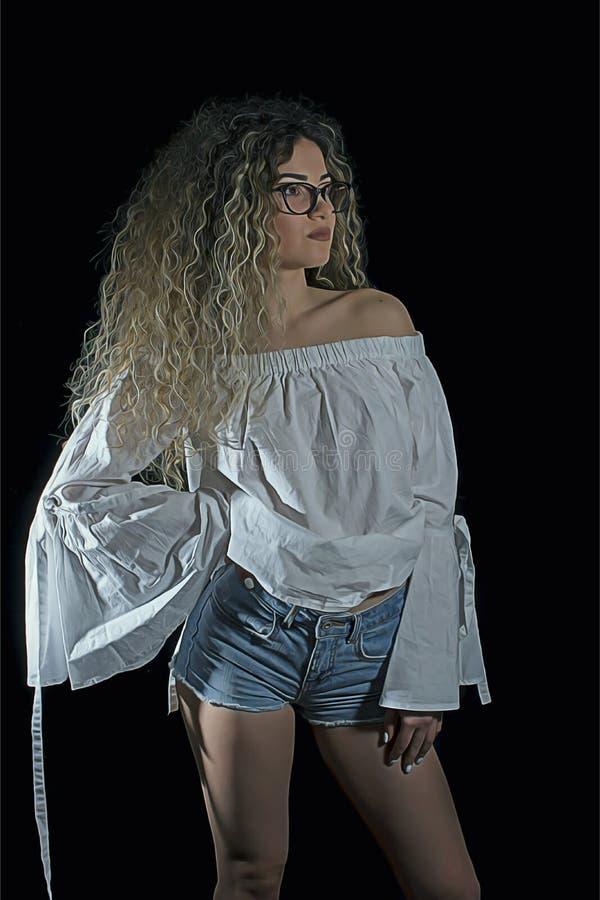 Курчавая белокурая женщина стоковое фото