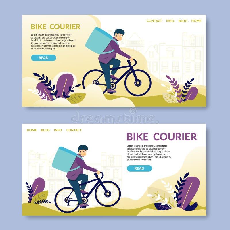 Курьер велосипеда прочитано Счастливый велосипед молодого человека электрический иллюстрация штока