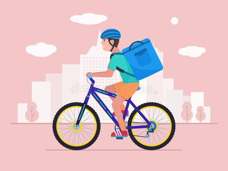 Курьер на велосипеде поставляет пакет с едой бесплатная иллюстрация