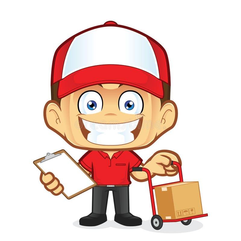 Курьер работника доставляющего покупки на дом держа тележку и доску сзажимом для бумаги иллюстрация штока