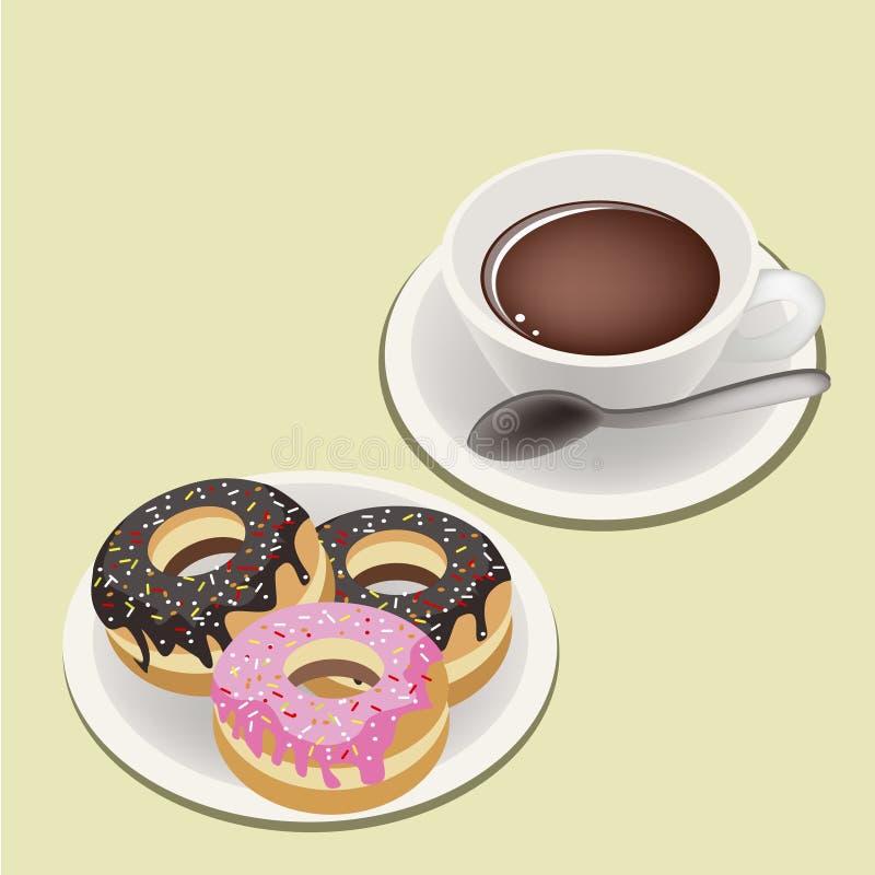Куря горячий кофе с застекленными Donuts бесплатная иллюстрация