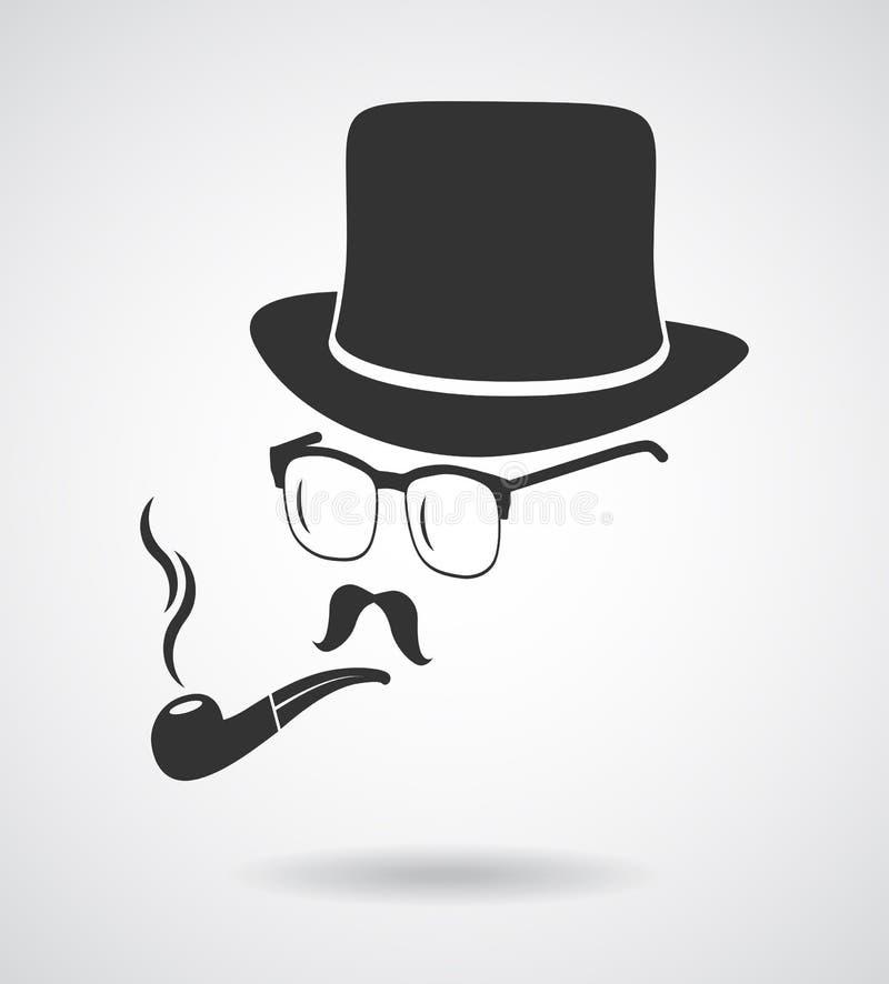 Куря джентльмен Винтажный комплект элементов дизайна как значок бесплатная иллюстрация