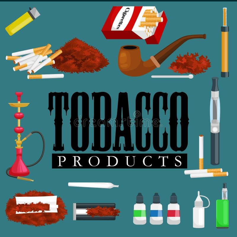 Куря значки продуктов табака установили с иллюстрацией вектора сигар кальяна сигарет изолированной лихтером иллюстрация штока