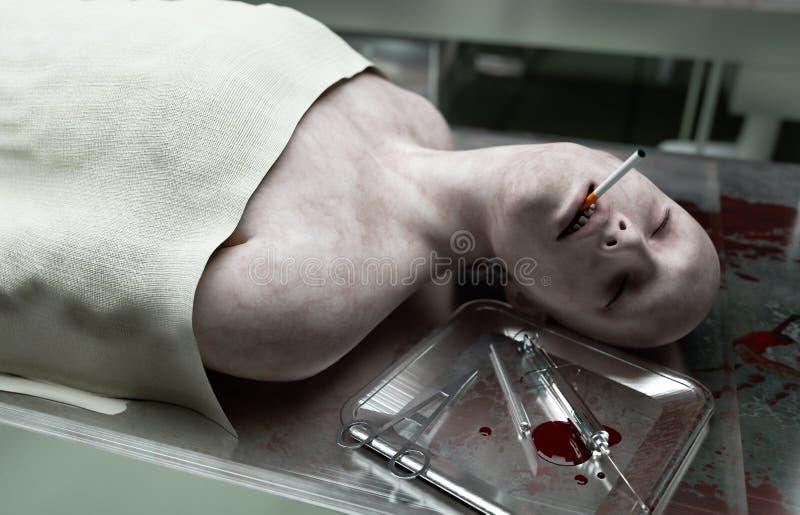 Куря убийства мертвое мужское тело в морге на стальной таблице труп Концепция аутопсии перевод 3d иллюстрация штока