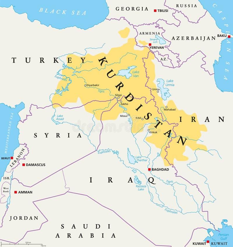 Курдистан, карта курдских земель политическая иллюстрация вектора