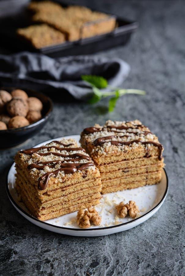 Куски традиционного торта Marlenka стоковые изображения