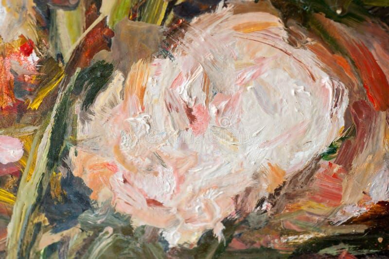 Куски яркой краски масла на съемке конца-вверх холста стоковое изображение
