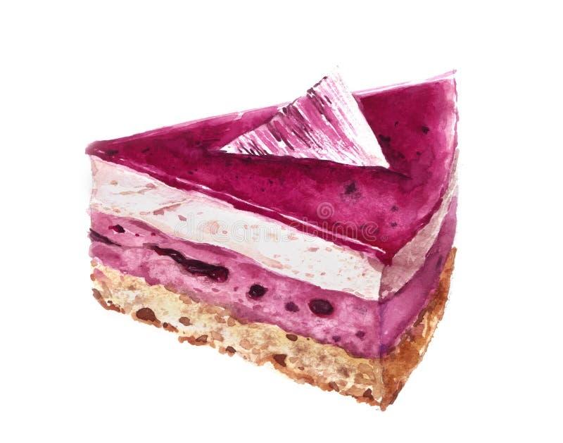 Кусок акварели торта смородины изолированный на белизне стоковое фото