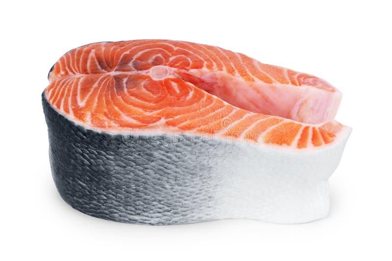 Кусок красных семг рыб на белой предпосылке стоковая фотография