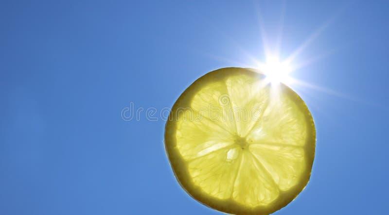 Кусок лимона летних отпусков солнечный перед сияющим солнцем стоковое фото rf
