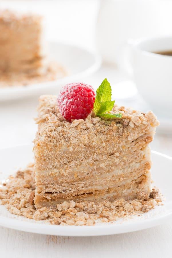Кусок пирога с заварным кремом и поленикой на плите, вертикальной стоковое фото rf