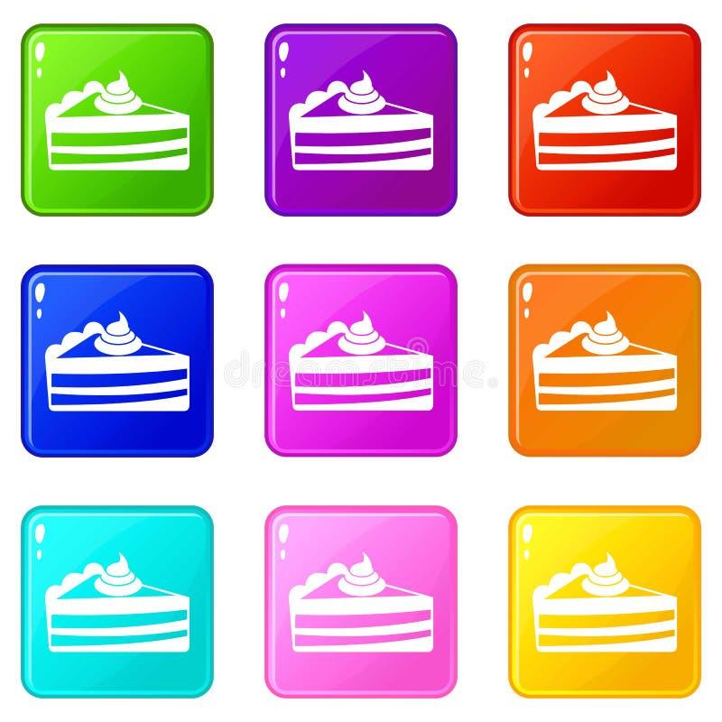 Кусок пирога установил 9 иллюстрация вектора