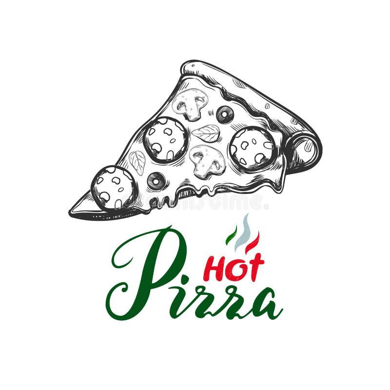 Кусок пиццы 1 иллюстрация вектора