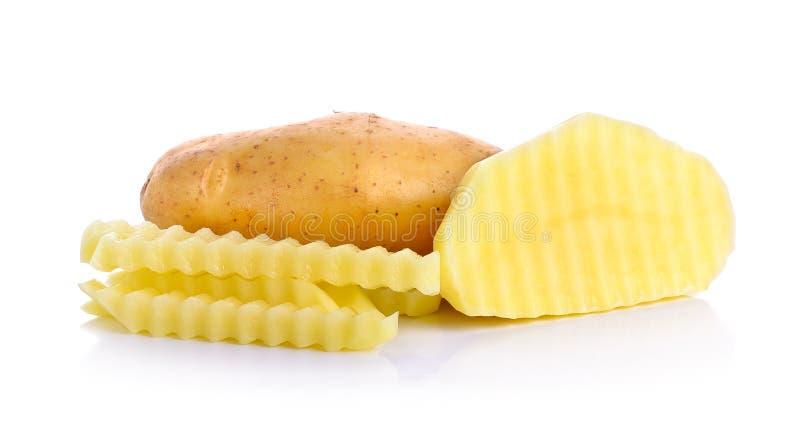 Кусок при картошка изолированная на белой предпосылке стоковые изображения rf