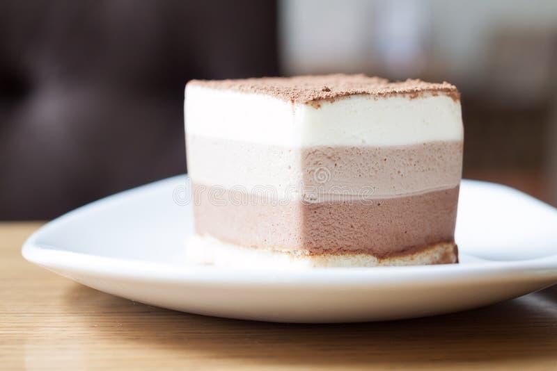 Кусок торта мусса шоколада 3 стоковые изображения