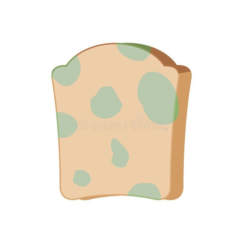 Кусок хлеба при изолированная прессформа Протухшая иллюстрация вектора еды иллюстрация штока