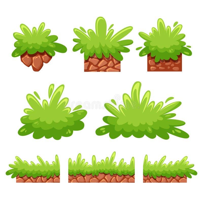 Кусты и трава мультфильма для игры бесплатная иллюстрация