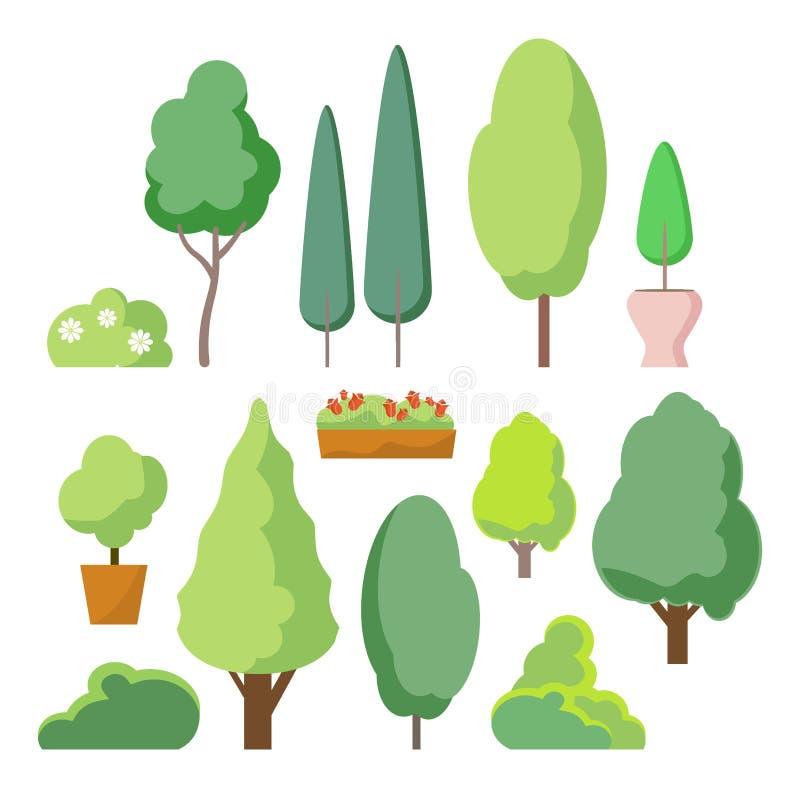 Куст шаржа и комплект дерева Vector деревья и кусты изолированные на белой предпосылке, заводы леса природы зеленые для изгороди  иллюстрация штока