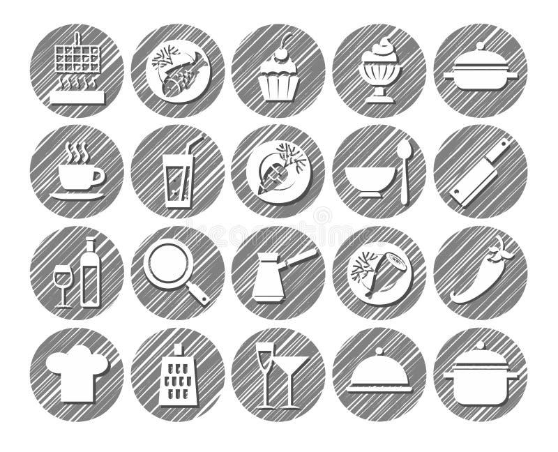 Кухня, варящ, monochrome значки, насиженный вектор, бесплатная иллюстрация