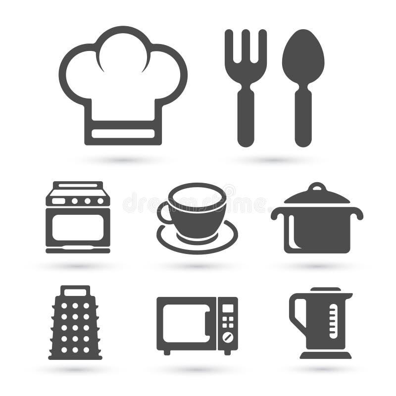 Кухня варя значки на белизне вектор бесплатная иллюстрация