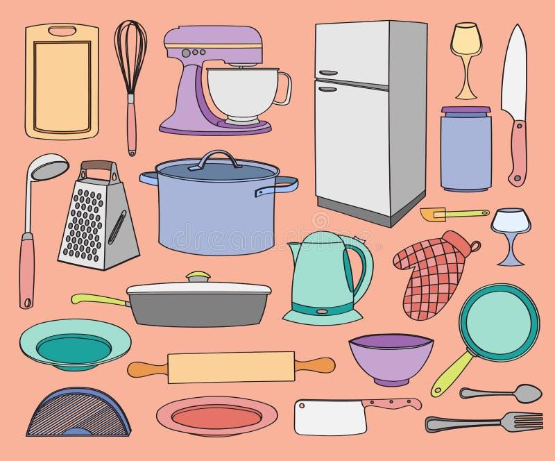 Кухня вектора Doodle иллюстрация вектора