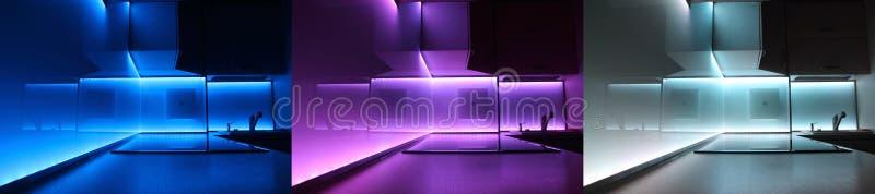 кухня вела роскошь освещения самомоднейшую стоковое фото