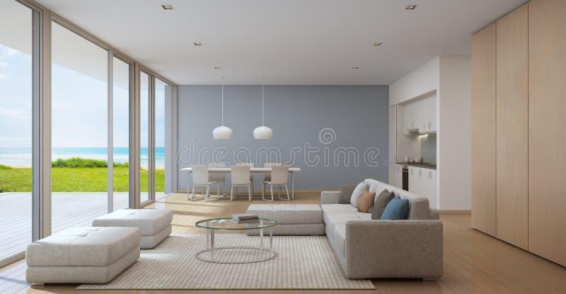 Кухня вида на море, обедать и живущая комната роскошного пляжного домика в современном дизайне, загородном доме для большой семьи стоковое фото rf