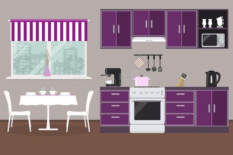 Кухня в фиолетовом цвете с неофициальными советниками президента, плитой, машиной кофе, таблицей и стульями иллюстрация вектора