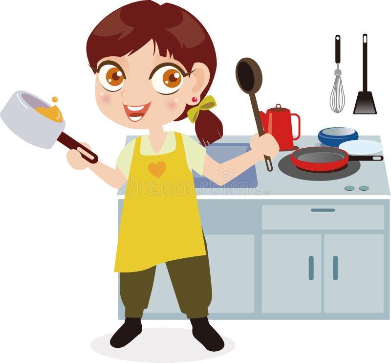 кухня девушки иллюстрация штока
