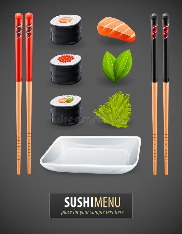кухня детализирует японские суши бесплатная иллюстрация