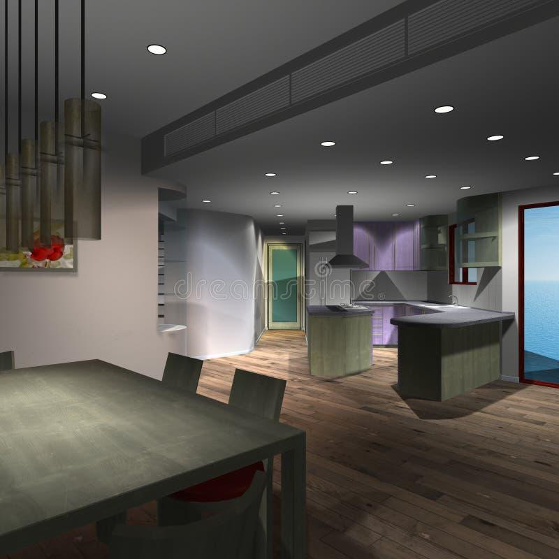 кухня дома самомоднейшая бесплатная иллюстрация