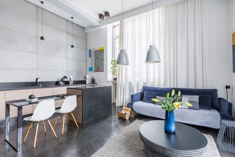 Кухня живущей комнаты комбинированная стоковая фотография