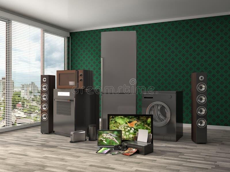 кухня икон дома конструкции приборов установила вашим Плита газа, кино ТВ, холодильник, микроволна, иллюстрация вектора