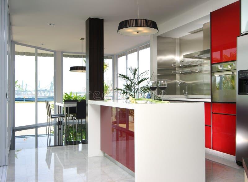 кухня интерьера конструкции стоковые изображения rf