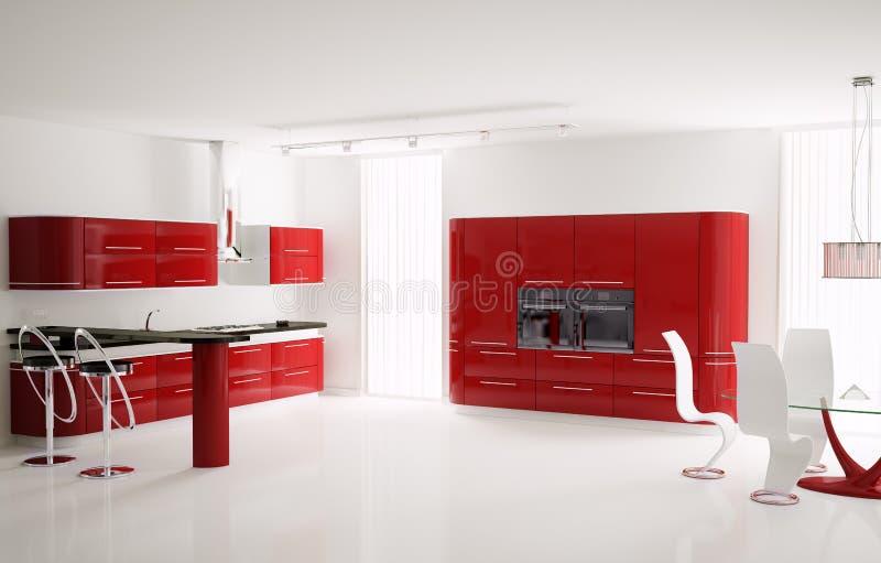 кухня интерьера 3d иллюстрация штока