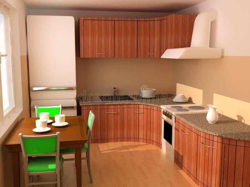 кухня интерьера 3d иллюстрация вектора
