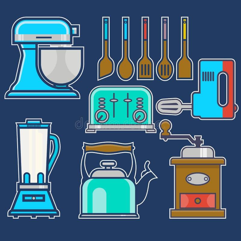 Кухня и варить винтажные элементы Комплект вектора блока кухни kitchenware, чайника, мельницы кофе, смесителя, liquidizer иллюстрация штока
